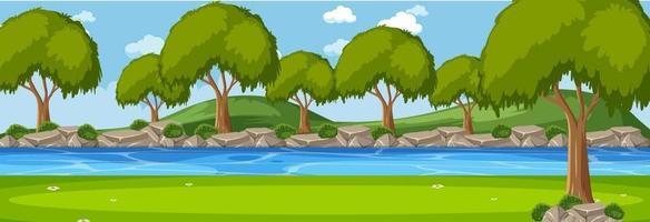 skog längs floden horisontell scen på dagtid med många träd vektor