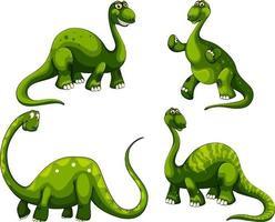 uppsättning sauropod dinosaurier seriefigur vektor