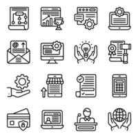 online affärs linjära ikoner pack vektor