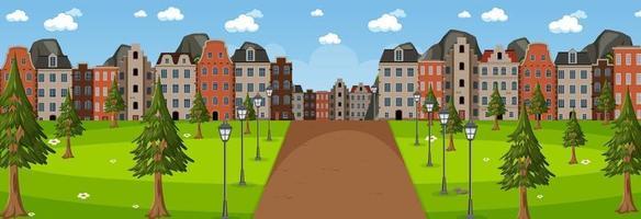 horisontell scen på dagtid med lång väg genom parken in i staden vektor