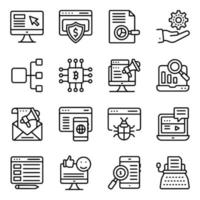 paket för finansiella och e-affärs linjära ikoner vektor