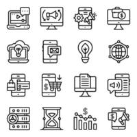 Business- und Marketing-Linear-Icons-Pack vektor