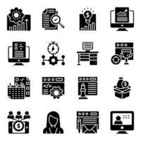 företagsledning fasta ikoner pack vektor