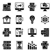 affärs- och marknadsföringsfasta ikoner pack