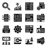 Business- und Datenanalyse-Solid-Icons-Pack vektor