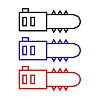 Satz elektrische Säge auf weißem Hintergrund vektor