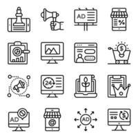 lineare Web- und Marketing-Symbole vektor