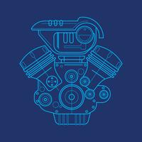 Auto Motor Blue Print vektor