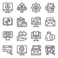 linjära ikonerpaket för ekonomi och förvaltning