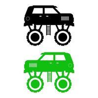 monster truck set på vit bakgrund vektor