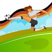 Moderner minimalistischer Deutschland-Fußball-Spieler für Schießkugel der Weltmeisterschaft 2018 mit Steigungshintergrundvektor Illustration