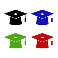 uppsättning av examen hatt på vit bakgrund