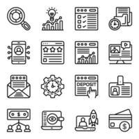 affärs- och dataanalys linjära ikoner pack