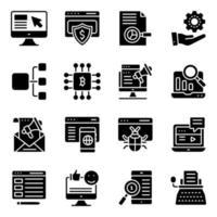 paket med fasta ikoner för ekonomi och e-affär vektor