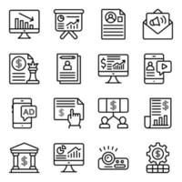 dataanalys linjära ikoner pack vektor