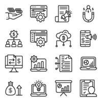 affärsteknologi linjära ikoner pack vektor