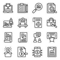 affärs- och infografiska linjära ikoner pack vektor