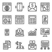 seo och webb linjära ikoner pack