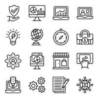 affärs- och handel linjära ikoner pack