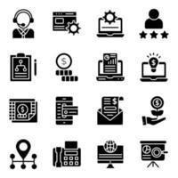 affärsanalys fasta ikoner pack vektor