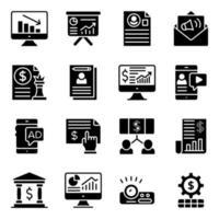 dataanalys fasta ikoner pack vektor