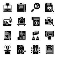 affärs- och infografiska fasta ikoner pack vektor