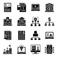 företag och statistik fasta ikoner pack