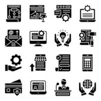 online-affärer solid ikoner pack vektor