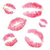 Söt läppstift Kysssamling vektor