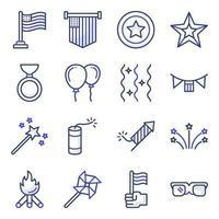förpackning med 4 juli platta ikoner vektor