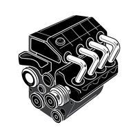Auto 4 Zylinder Motor Zeichnung vektor