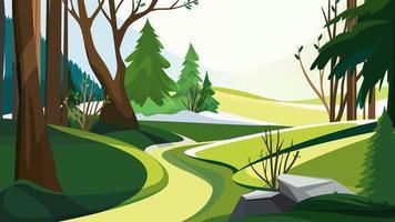 Frühlingswald mit verschiedenen Bäumen. vektor