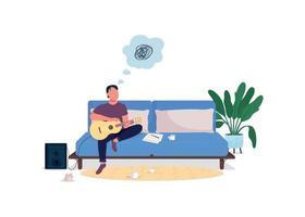 stressad gitarrist platt färg vektor ansiktslös karaktär
