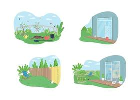 Outdoor Frühjahrsputz 2d Vektor Web Banner, Poster Set