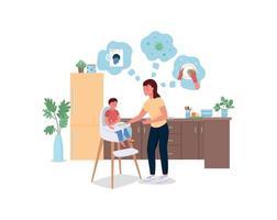 stressad mamma med baby i kök platt färg vektor detaljerade tecken