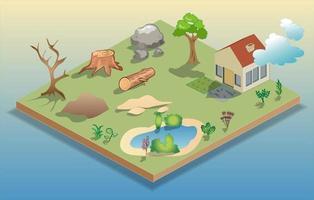 isometriska landskap designelement vektor