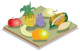 isometrisk frukt illustration och ikon vektor