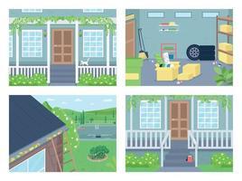utanför huset platt färg vektor illustration set