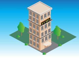 isometrisk hotellbyggnadsillustration vektor