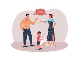 föräldrar som argumenterar för 2d-webbaner, affisch vektor