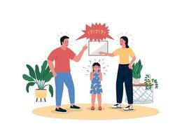 slåss föräldrar och gråtande dotter platt färg vektor detaljerade tecken