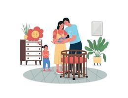 Mädchen eifersüchtig mit Eltern Neugeborenen Baby flache Farbe Vektor detaillierte Zeichen