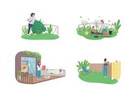 Frühlingsgartenpflege flacher Farbvektor gesichtsloser Zeichensatz vektor