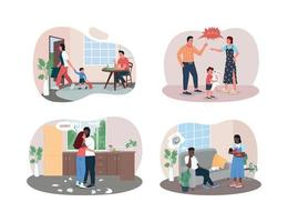 Familienaufteilung 2d Vektor-Web-Banner, Plakatsatz vektor