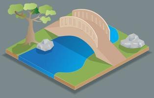isometrisk bro på en park vektor