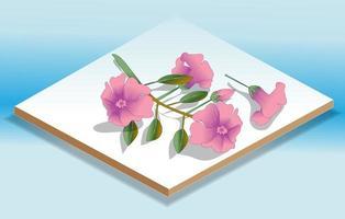 isometrische Blumenikone und Illustration vektor