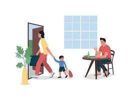 mor med barn lämnar alkoholhaltiga far platt färg vektor detaljerade tecken