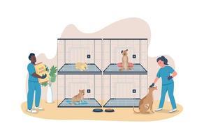 tierärztliche Versorgung für Hunde 2d Vektor Web Banner, Poster