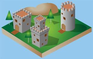 isometrisk slott ikon och illustration vektor