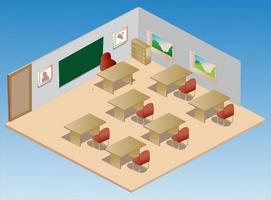 isometrische Klassenzimmerillustration und Ikone vektor
